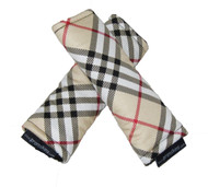 Tartan Beige Black Red Strap Covers - cotton