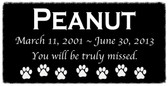 "6"" x 3"" Custom Black Tile - Pet Memorial Marker"