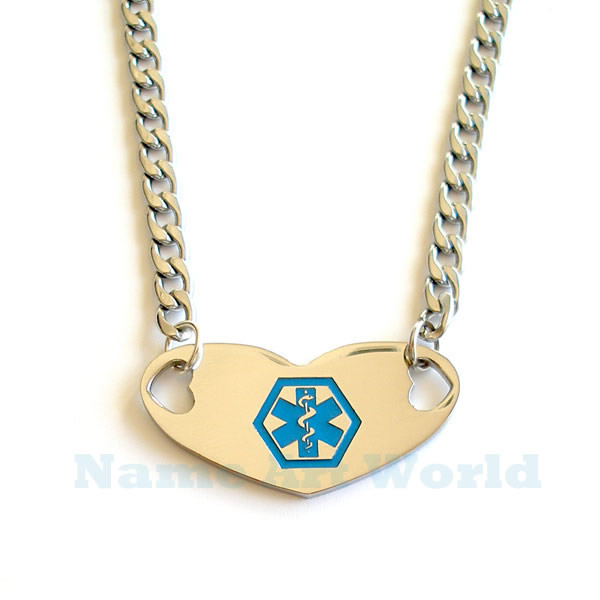 Medical alert identification heart shapeick stainless steel id necklace never tarnish free engraving image 1 aloadofball Gallery