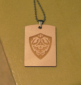 TRIFORCE LOGO  from the Legend of Zelda Wooden DOG TAG  with Stainless Steel Ball chain.