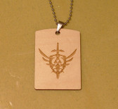 TRIFORCE LOGO :  the Legend of Zelda -Wooden Dog Tag - Stainless Steel Ball chain 30 inch - also good for Keychain