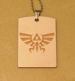 TRIFORCE LOGO #1 from the Legend of Zelda Wooden Dog Tag - Stainless Steel Ball chain 30 inch - also good for  Keychain
