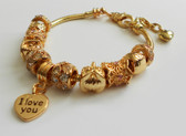"Bracelet with engraved ""I Love You"" on a heart charm."