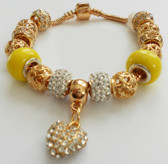 A Bracelet with a Crystal Heart Charm Gold plated Bangles for a special gift