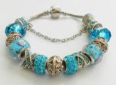 Bracelet with European Blue and metal Beads and Silver color  Bangles