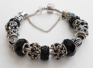 Black Jet color accents woman Bracelet bangle.