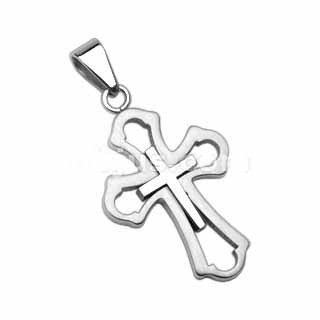 316L Stainless Steel Cross within a Cross Pendant included a stainless ball chain(2.4mm, 24 inch)