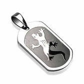 316L Surgical Steel Gecko Engraved Pendant with a Chain
