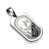 316L Surgical Steel Skull Engraved Pendant with a Chain