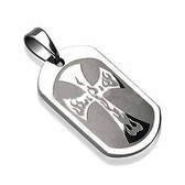 316L Surgical Steel Flam'in Cross Engraved Pendant with a Chain