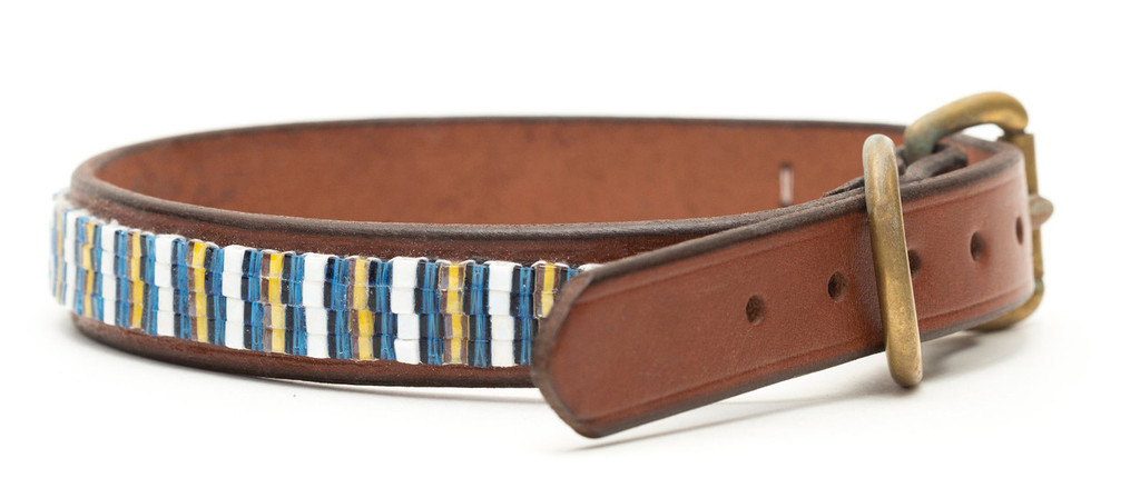 brown leather wide collar