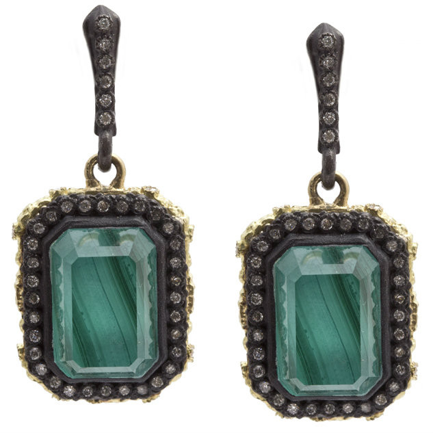 Armenta Carved Emerald Cut Earrings With Malachite Doublet