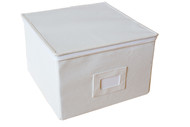 "Medium canvas box with zipper lid - 11"" x 11"" x 7""H"