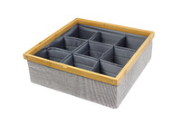 Twill Stackable Closet Tray 9-Dividers Drawer and Closet Storage Bin
