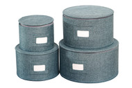 In This Space Teal Twill Hard-shell Round Plates Protector (Set of 4)