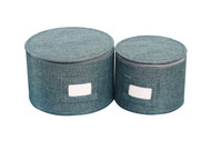 "In This Space Teal Twill Hard-shell Round Plates Protector (SET-2) Small (up-to 7.5"") & X-Small (up-to 5.5"")"