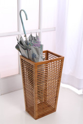 "Rustic Open Slats Umbrella and Walking Canes Storage with Cast Iron Drip Pan -- 8.5"" X 10.4"" X 19.6"" H"