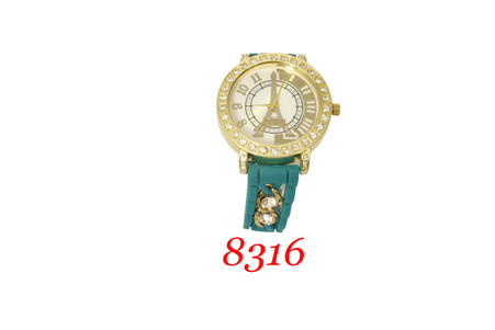 Geneva ladies silicone chain watch with the Eiffel tower on a silver, gold or mother of pearl dial.