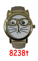 8238t Ladies Cat Leather Band Watch