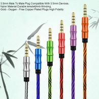 Nylon Braided 4-Pole 3.5mm Male to Male Stereo AUX Extension Cable