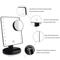 Lights Makeup Mirror 16 LED Light, Movable Perfect Touch Dimmable with Removable Magnifying(Black)