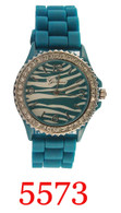 #5573 Geneva  zebra ladies silicone watch