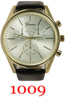 1009 Geneva Men's Leather Band Watch