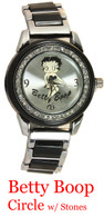 Betty Boop Circle w/Stones Ladies Metal Band Watch