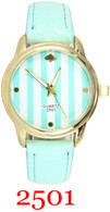 2501 Stripes Ladies Leather Band Watch
