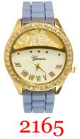 2165- Ladies silicone band watch w/rhinestones
