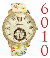 6010-ladies silicone floral watch