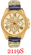 2119S Ladies' Leather Crystal Band Watch
