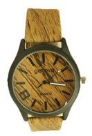 mens geneva leather band watch wood