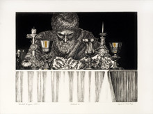 Agnes Crowley, Last Supper (Detail), Etching, Aquatint, and Hand coloring, 30 x 22 in.