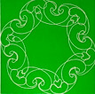 Conner, Ann, Bollywood, green, color woodcut,2008, ed. 15, 13 x 13 in. sheet