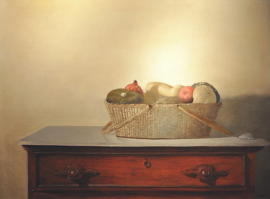 Larraz, Julio, Gourds and Pomegranates, 1974, oil on linen, 38 x 45.5 in., framed