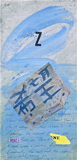 Smith, Mark L.,Z, 2014, acrylic, collage, mixed media on 300lb. Arches, 24 x 12 in.