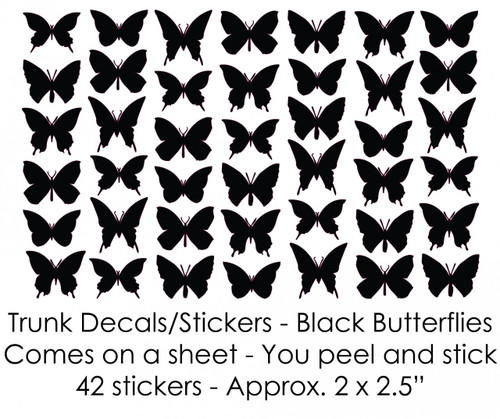Black Butterflies Trunk Decals/Stickers