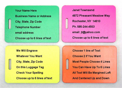 Engraved Luggage Tags - Neon Green, Pink, Yellow, Orange