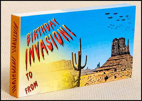Birthday Invasion! Flipbook - watch an alien craft swoop down and realize... it's really a flying birthday cake!