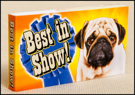"Best in Show flip book has a series of great dog mugs — a pug, a lab, a bull terrier... finally a winning basset hound flapping his ears and flying at you with the message ""You're the Best!""  A great inexpensive gift for the dog-lovers in your life."