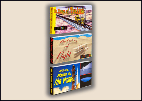 Travel Flipbooks 3-Pack: History of Trains, History of Flight, Apollo Moon Missio