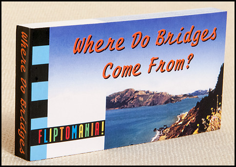 Where Do Bridges Come From? flipbook shows the never-before seen story of the creation of the Golden Gate Bridge, carried into place by a stork.