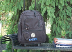 Kids Personalized Black Rolling Backpack