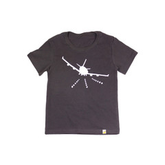 Organic Cotton T-Shirt - Airplane Print in Charcoal