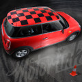 2014-2015 Mini Cooper Checkered Roof Blackout Rally Racing Stripes Matte Black