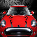 "2007-2018 Mini Cooper Rally Checkered Side and Hood Stripes ""Porsche"" style decals"