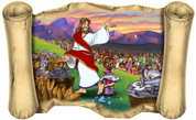 Jesus Feeds 5,000 - Bible Scroll