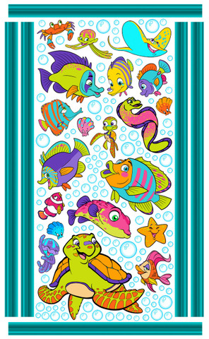 Fish Friends Wall Art by Vivi's Boutique.  Sheet size measures 6.5' x 4'.