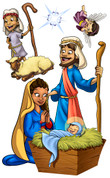 Christmas Nativity Peel'n'Stick - Character Pack: Jesus, Mary, & Joseph